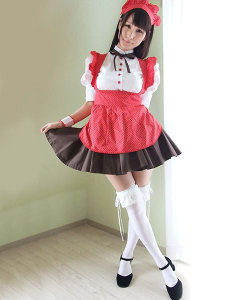 Red Black White Short Sleeves Maid Costume Cute Cosplay Costumes Pinterest