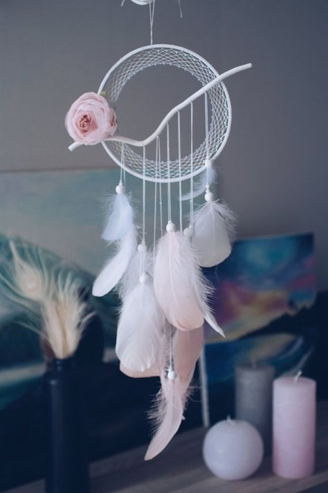 Floral White dream catcher Wall decor Baby shower decor