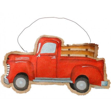 """Valentines Day Red Farmhouse Truck Wreath Wall Hanging Decor 15.5/"""" New"""