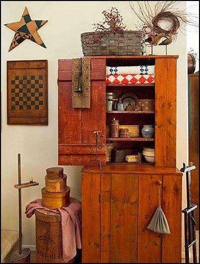 Primitive Style Country Farmhouse Decorating Ideas Americana Folk Art Heartland Decor Rustic Home