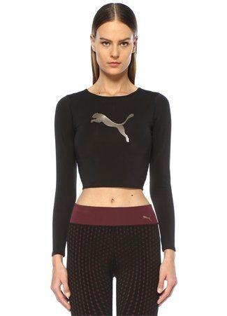 Puma Puma Kadin Luxe Siyah Logolu Sirti Acik Uzun Kol Crop Shirt S Spor Giyim Kadin Siyah