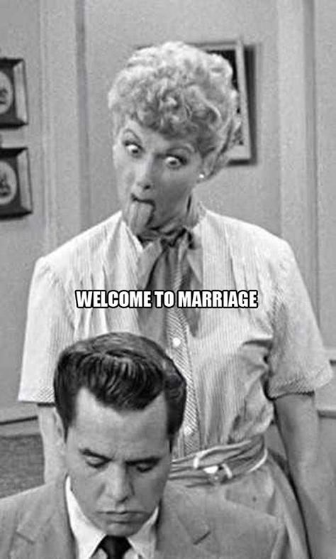 Welcome to Marriage - I Love Lucy Sticks Her Tongue at Ricky ---- best hilarious jokes funny pictures walmart humor fail I Smile, Make Me Smile, I Love Lucy, My Love, Lucy Lucy, Lucy And Ricky, Hump Day Humor, Thursday Humor, Monday Humor