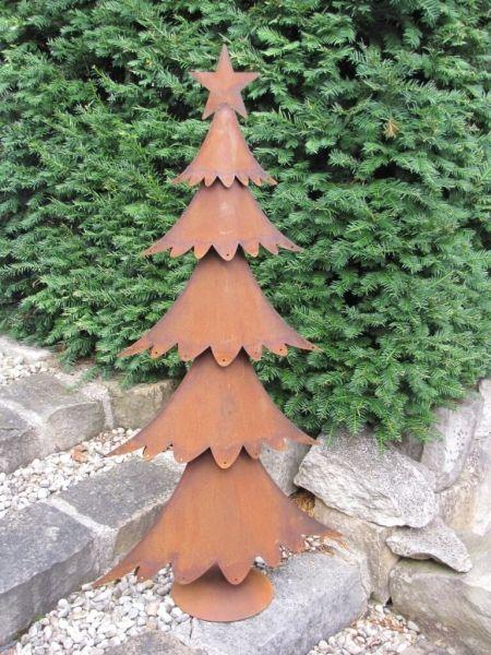 Rostiger Tannenbaum.Edelrost Tannenbaum Breit Auf Platte Rostige Weihnachten