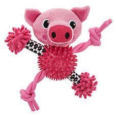 Puppies R Us Pig Noodle Dog Toy Plush Squeaker Puppies