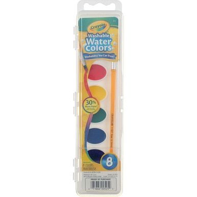 Crayola Washable Watercolor Pans With Brush 8 Ct Watercolor