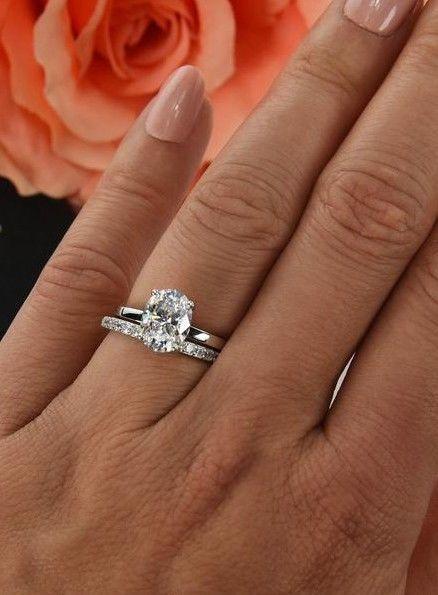 5e431755c7b0a 2 ct Solitaire Oval Diamond Halo Bridal Ring Set 14k White Gold ...