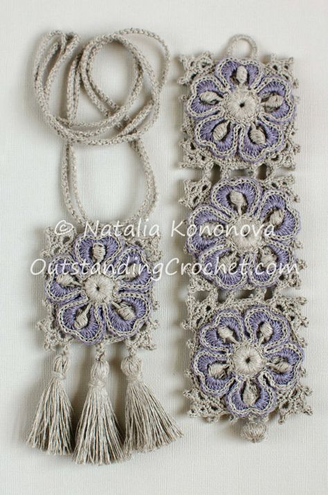 Crochet+Boho+Wide+Bracelet+and+Necklace+with+von+OutstandingCrochet