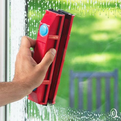 Clean the outside of windows with a magnetic cleaner that makes the job safer and easier to do—from the inside. The two part tool uses magnets to reach the outside of windows (with designs to suit different glass thicknesses) or you can use the tool to clean both sides at once. A squeegee and microfiber cloth get things sparkly clean and a safety cord ensures the outside part of the cleaner stays with you in case of a fumble. Spring cleaning just got a lot easier!