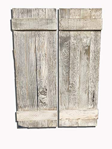 Rustic White Decorative Barn Wood Shutter Set Of 2 For Wall Decor