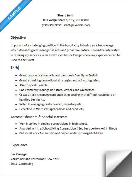 server resume skills examples