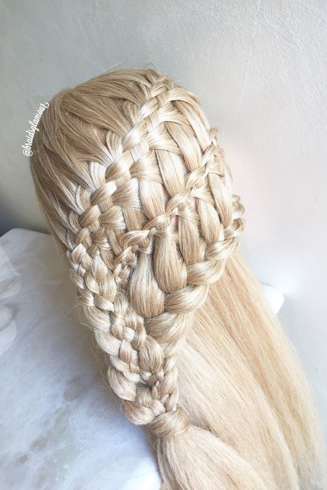 Five/four strand waterfalls into a lace braid