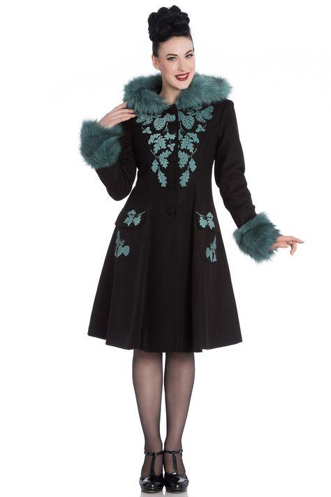 Vintage Lila 50er Mantel Elvira Bunny Winter Schwarz Hell
