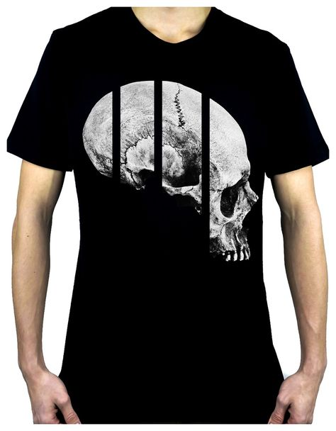 - Human Skull Men's T-Shirt - Dark Alternative Clothing for any style of Oddities - Screen Print on High Quality Fine Knit Jersey - oz - Ringspun Cotton with Ultra Soft Feel - Sizes: Small -