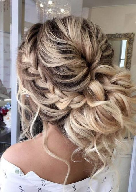 Braided prom hair updos may be considered in case you opt for a more classic sty., Braided prom hair updos may be considered in case you opt for a more classic style that reflects tender beauty. So, read on to learn what's in trend. Prom Hairstyles For Long Hair, Braids For Short Hair, Easy Hairstyles, Hairstyle Ideas, Updos Hairstyle, Hairstyle Wedding, Fringe Hairstyles, Hairstyles Pictures, Beautiful Hairstyles