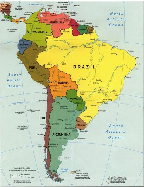 Map of Mexico and South America | Map of south america and ...