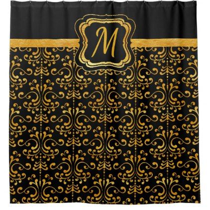 Elegant Black And Gold Damask Monogram Initial Shower Curtain