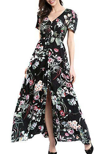 7cd2f19aac46c2 KUONUO Femme Robe Floral Longue Col V à Fleur Manches Courtes en ...