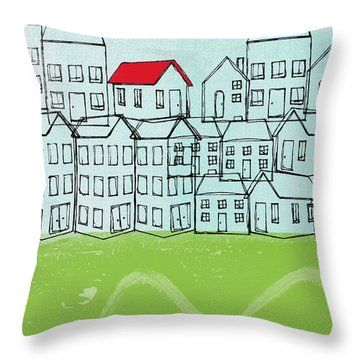 One Red Roof Throw Pillow Throw Pillows Pillows Red Roof