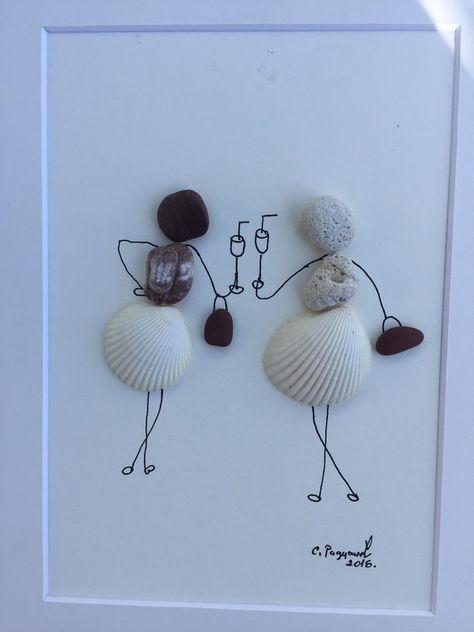 Pebble art girls,friendship, gift for girl friends,pebble art shells…
