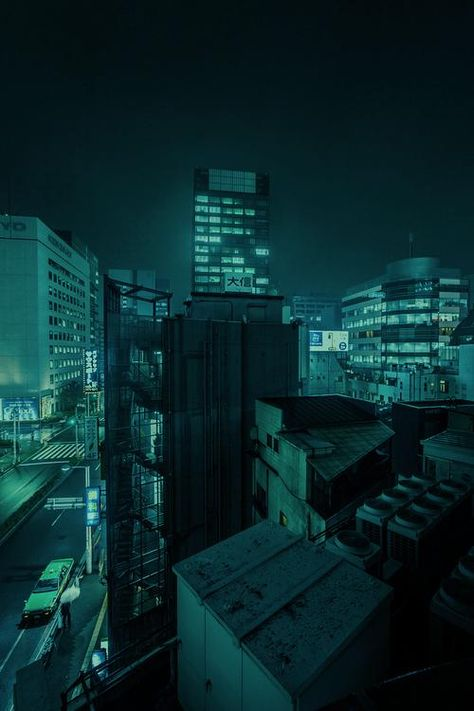 city street at night City Aesthetic, Aesthetic Colors, Aesthetic Pictures, Aesthetic Green, Cyberpunk, Neon Noir, Paris Ville, Turquoise, Teal