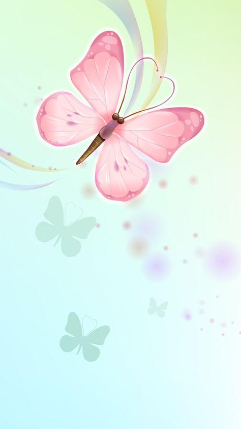 Pink Aqua Blue Butterflies iPhone Wallpaper