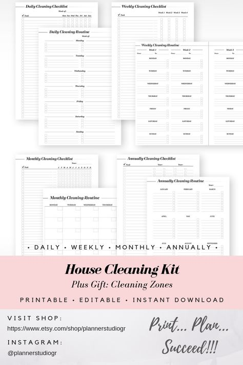 Make Cleaning A Fun Habit With These Beautiful Printable Planner Inserts For More Details Visit My Etsy