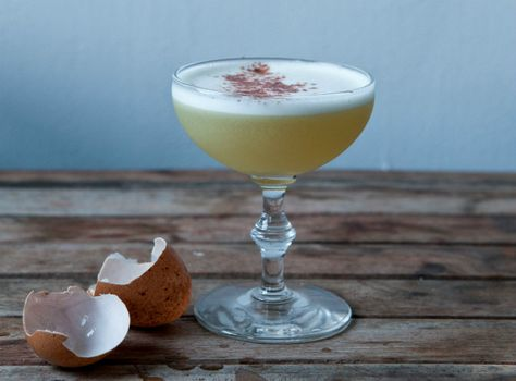 An eggnog cocktail made with ROOT liquor and ginger syrup!