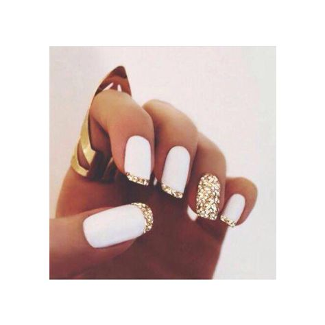 Gorgeous matte white and gold nails