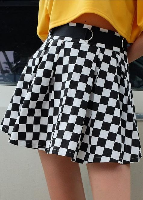 "PRODUCT DETAILS Waistline:Raised Waist Type:Elastic Pattern Type:Checked Details:Belted Length:Mini Material:100% Cotton PRODUCT MEASUREMENTS Size Waist Bottom Length S 65cm/25.59'' 39cm/15.35"" M 69cm/27.17'' 40cm/15.74"" L 73cm/28.74'' 41cm/16.14"" This item is one size smaller than regular. To fit like our model, for customers who usually purchase size M, we suggest you order size L for this item. Checkered Skirt, Plaid Mini Skirt, Plaid Skirts, Checkered Outfit, Plaid Skirt Outfits, School Skirt Outfits, Pleated Skirt Outfit Short, Skirt Ootd, Mini Skirt Style"
