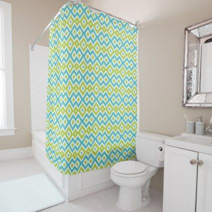 Fun Lime Green Turquoise Blue Ikat Mosaic Pattern Shower Curtain Boutique Gifts Style Sty With Images Flower Shower Curtain Stylish Shower Curtain Yellow Shower Curtains