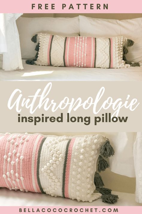 If you're a fan of a simple and minimal aesthetic, you're going to LOVE this gorgeous pillow from guest designer Nihal Salem. Inspired by cult shop Anthropologie, this long pillow is perfect for sunset lounging. Grab the free pattern at Bella Coco today! Crochet Home Decor, Diy Crochet, Crochet Crafts, Crochet Projects, Crochet Ideas, Long Pillow, Crochet Cushions, Crochet Blankets, Knitted Pillows