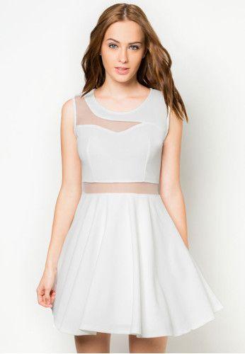 Black and white mesh panel dress