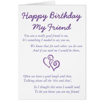 Happy Birthday My Friend Card Zazzle Com Happy Birthday My Friend Cards For Friends Happy Birthday Me