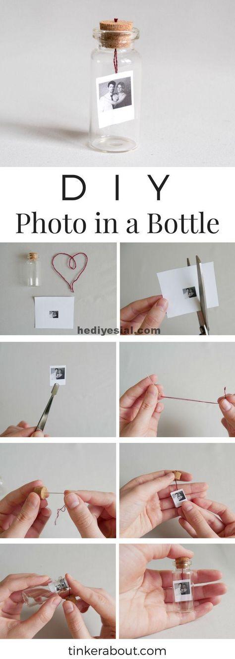 DIY kleines Foto / Nachricht in einer Flasche als Geschenkidee zum Valentinstag,  #einer #flasche #geschenkidee #kleines #nachricht #present #valentinstag, Geschenk