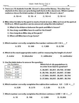 Show What You Know Fourth Grade Math Sample | Time Saving Divas on