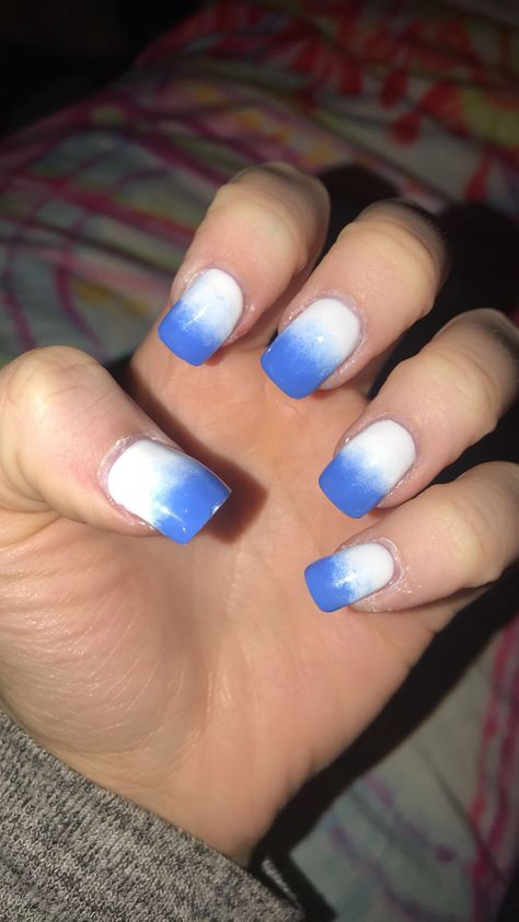 Got A White Blue Fade White Blue Ombre Nails Acrylics Vacationnails Soextra Happygirl Square Acrylic Nails White Nails Purple Manicure