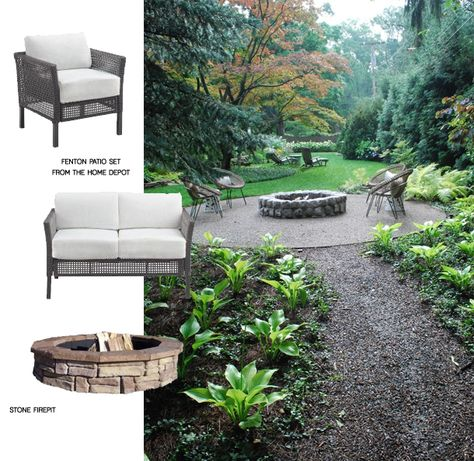 Fire Pit  + Seating (+ Hammock) for outside the bedroom slider