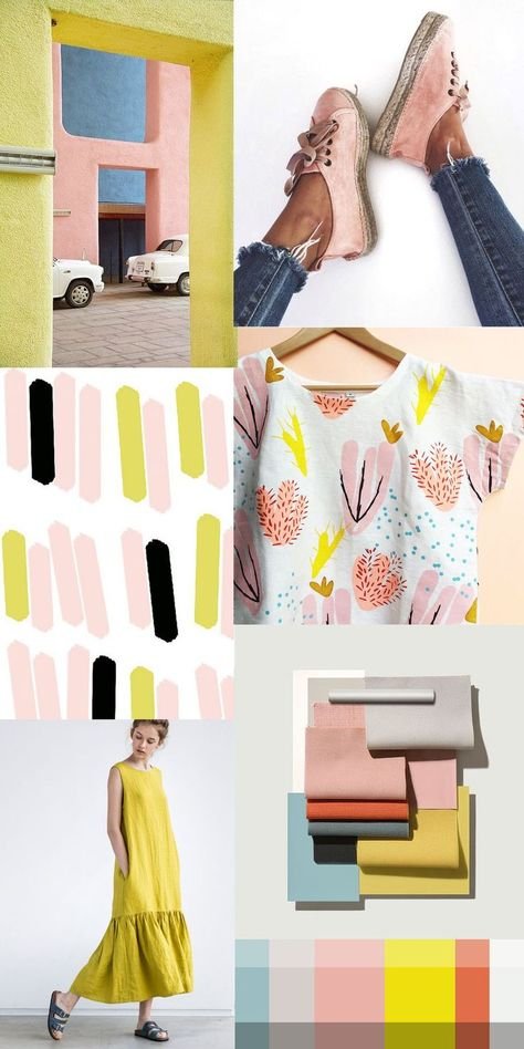 Pattern design and textiles—I did a colour inspiration post... gravitating towards the same colours but in different tints and shades. Looks like the yellow, pink and blues are still haunting me. This time more fresh and vibrant... must be that summer vibe in the air.Perhaps this will be my mood board for my next sewing projects! I kind of want to paint my walls in these hues as well... what colours have you inspired these days? #itsmesimonok #patterns