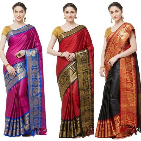Saree Sari Indian Designer Wear Silk Pakistani Blouse Wedding Party New Kanchipu
