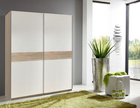 Armoire Design 2 Portes Coulissantes 167 Cm Coloris Blanc Chene Powo Armoire Design Porte Coulissante Et Armoire