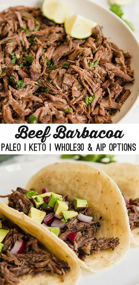 This slow cooker barbacoa is an easy and delicious protein to add to burrito bowls, or make into tacos! The barbacoa is paleo, keto, whole30 compliant, and can be adapted to be AIP. #healthyrecipe