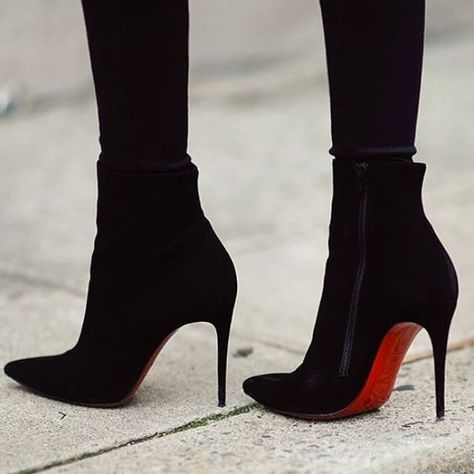 Christian Louboutin Ankle & Booties Suede Plain Pin Heels Elegant Style Ankle & Booties Boots