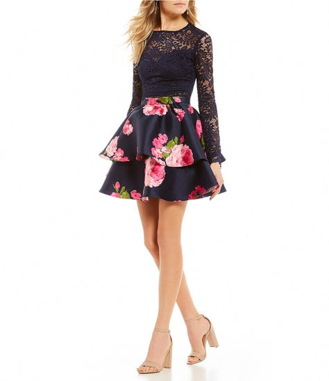 110f618b34 B Darlin Long Sleeve Lace Top with Floral Skirt TwoPiece Dress  Dillards   longsleevecocktaildresses