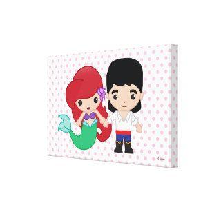 Ariel And Prince Eric Emoji 4 Canvas Print Disney Emoji Canvas Prints Stretch Canvas