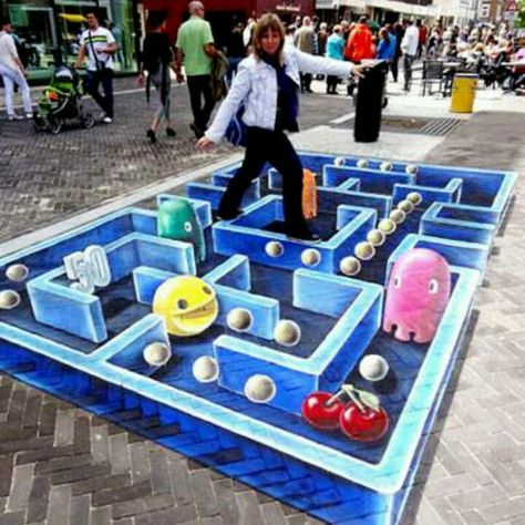 Accomplished illusionist Leon Keer gave pac man a 3D feel on a street in Venlo, Netherlands