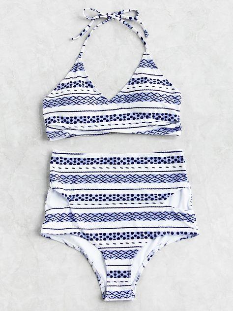 1383cf769c9f7 Shop Graphic Print Cutout High Waist Bikini Set online. SheIn offers  Graphic Print Cutout High Waist Bikini Set & more to fit your fashionable  needs.