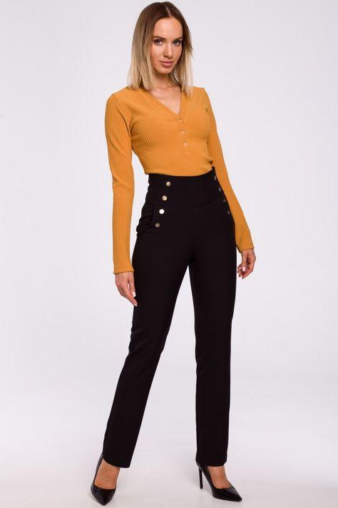 Spodnie Z Wysokim Stanem I Ozdobnymi Napami Czarny Fashion Pantsuit Capri Pants