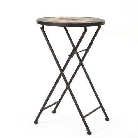 Noble House Canaan Round Stone Outdoor Side Table Outdoor Side Table Metal Outdoor Side Table Stone Table Top