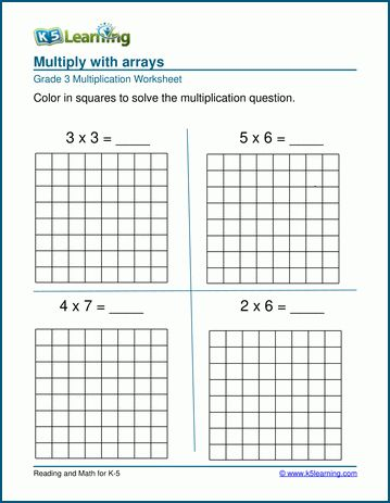 Array Math Worksheets
