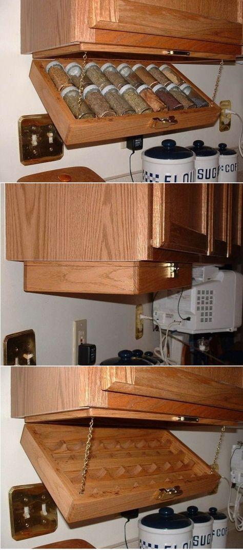 Diy Kitchen Storage, Diy Storage, Kitchen Organization, Storage Ideas, Spice Storage, Storage Design, Spice Rack Organization, Under Cabinet Storage, College Organization